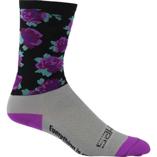 "DeFeet Aireator 6"" SaKO7 Socks - Purple Roses - X Large (Purple Roses)"