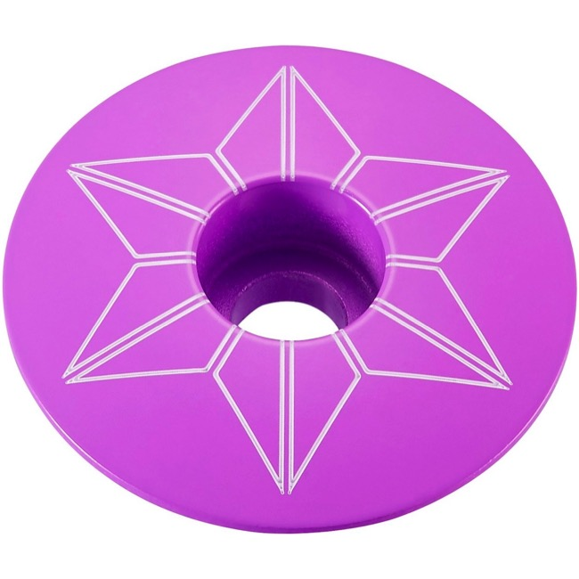 Supacaz Star Capz Headset Top Cap - 1 1/8 Inch (Neon Purple Powder Coated)
