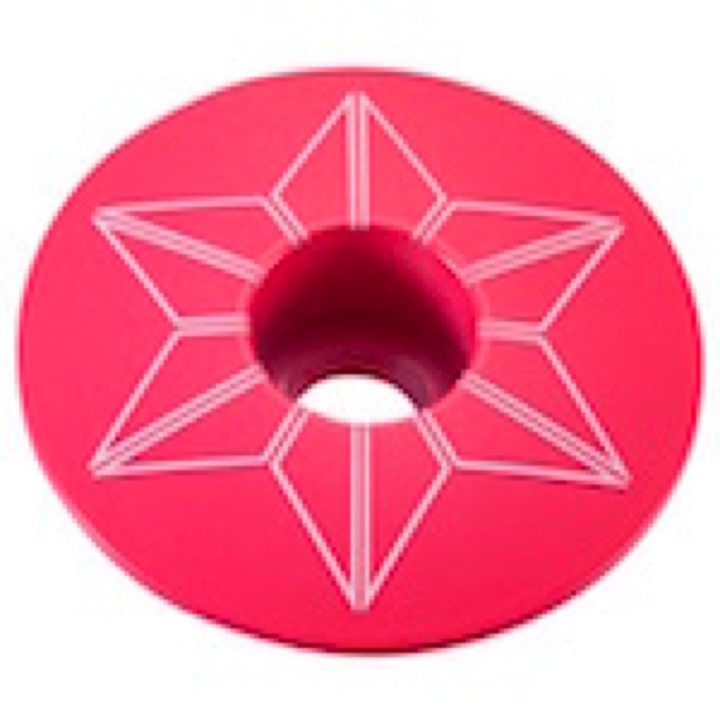 Supacaz Star Capz Headset Top Cap - 1 1/8 Inch (Neon Pink Powder Coated)