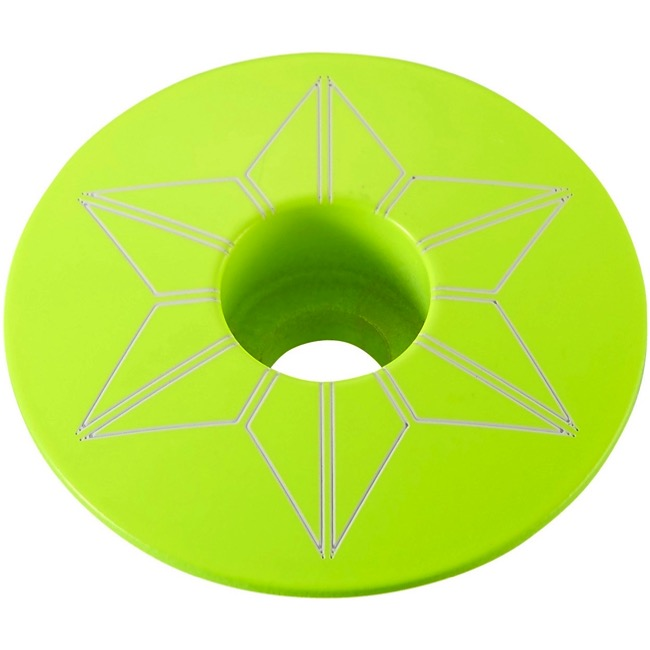 Supacaz Star Capz Headset Top Cap - 1 1/8 Inch (Neon Yellow Powder Coated)