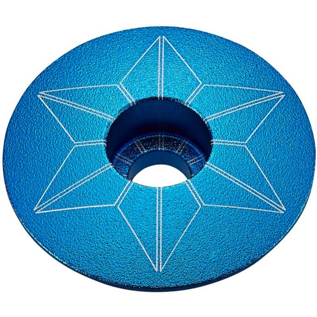 Supacaz Star Capz Headset Top Cap - 1 1/8 Inch (Aqua Ano)