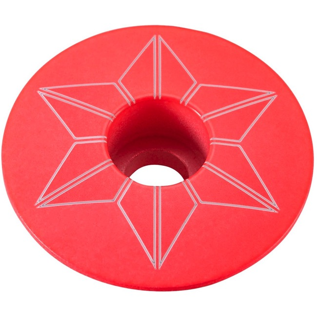 Supacaz Star Capz Headset Top Cap - 1 1/8 Inch (Hot Pink Powder Coated)
