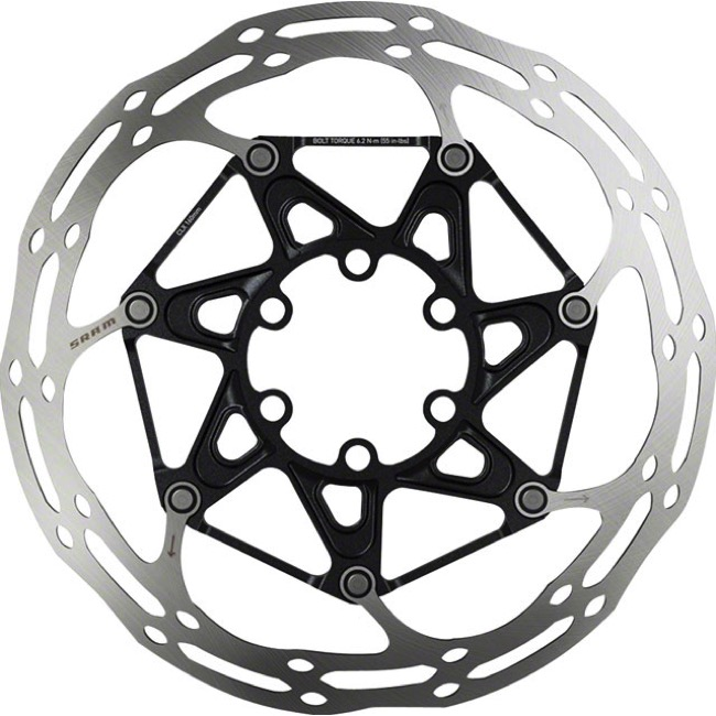 Sram Centerline 2-Piece Rounded Edge Disc Rotors - 160mm, Titanium Mounting Bolts (6 Bolt)