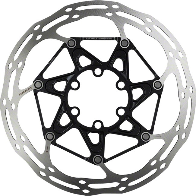Sram Centerline 2-Piece Rounded Edge Disc Rotors - 180mm, Titanium Mounting Bolts (6 Bolt)