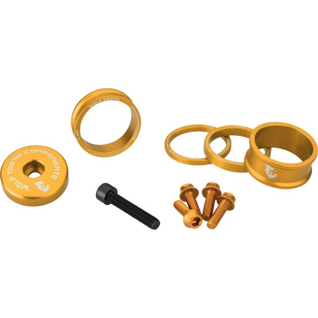 "Wolf Tooth Components Headset Bling Kit - 1 1/8"" Kit (Gold)"