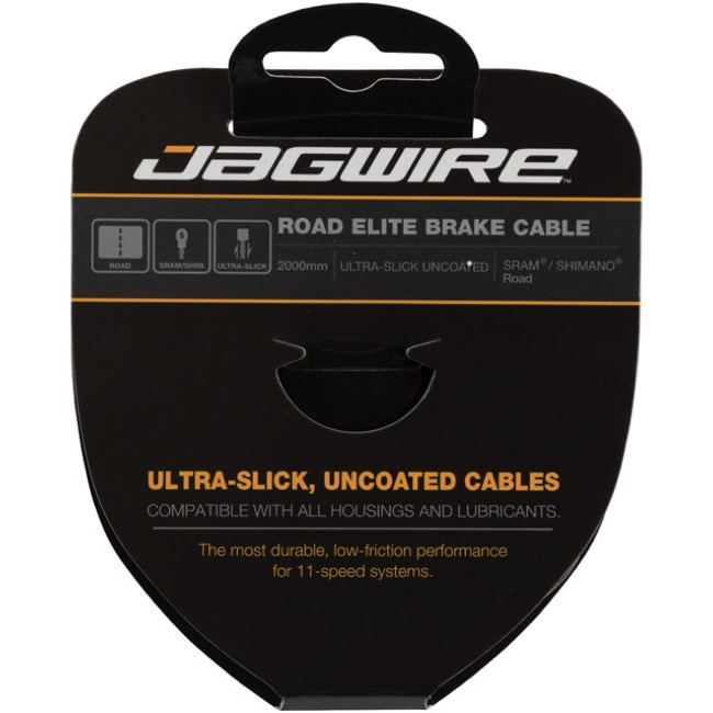 Jagwire Elite Ultra-Slick Uncoated Brake Cables - Shimano/SRAM 2000mm, Each (Road Only)