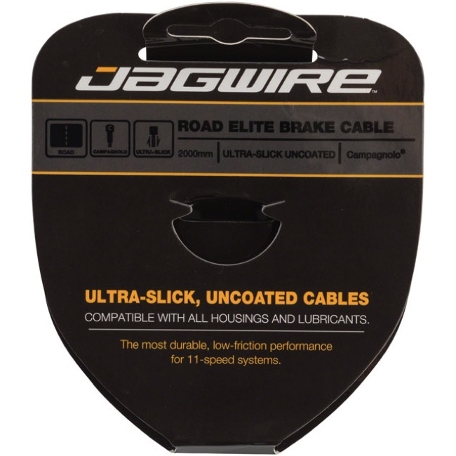Jagwire Elite Ultra-Slick Uncoated Brake Cables - Campagnolo 2000mm, Each (Road Only)