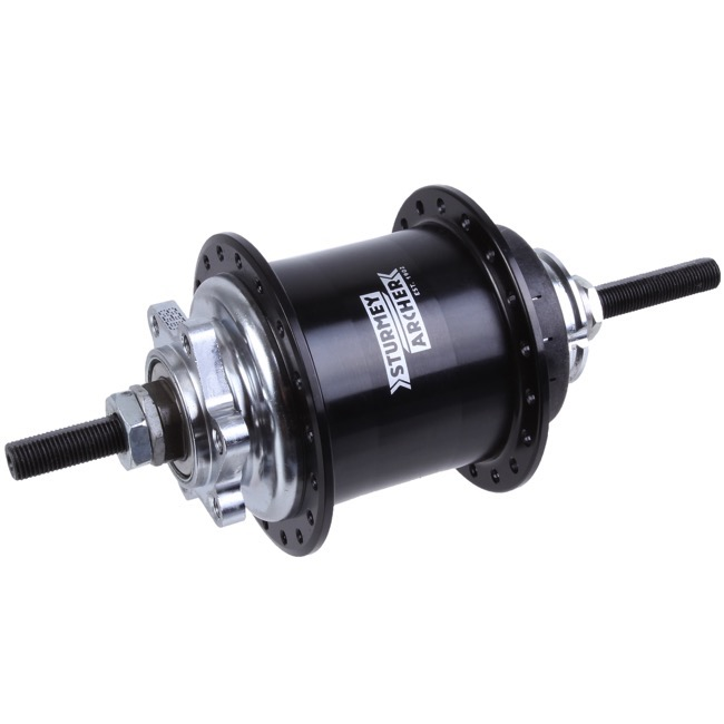 Sturmey-Archer RS-RK3 3 Speed Disc Hub - 135mm Spacing - 135mm x 10mm Bolt-On x 36 Hole (Black)
