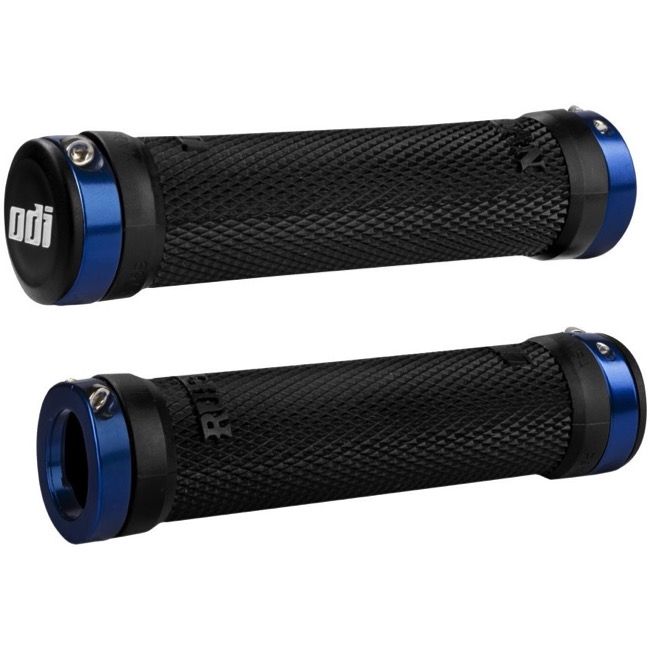 ODI Ruffian Lock-On Grips - Bonus Pack (Black Grips/Blue Clamps)