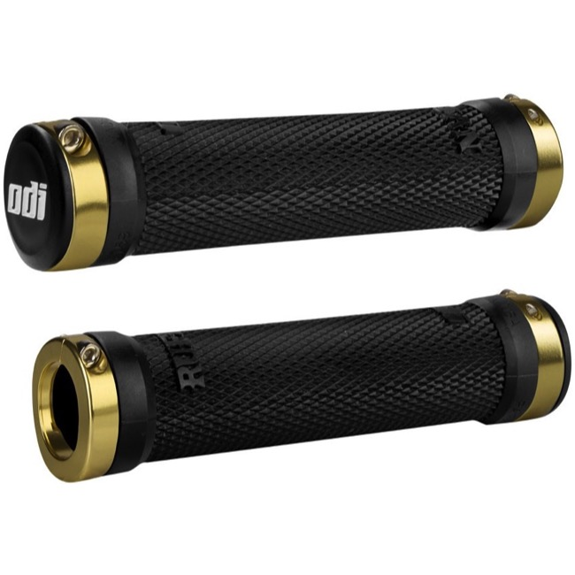 ODI Ruffian Lock-On Grips - Bonus Pack (Black Grips/Gold Clamps)
