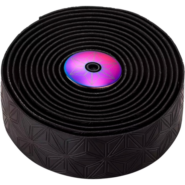 Supacaz Super Sticky Kush Bar Tape - Black w/Oilslick Plugs