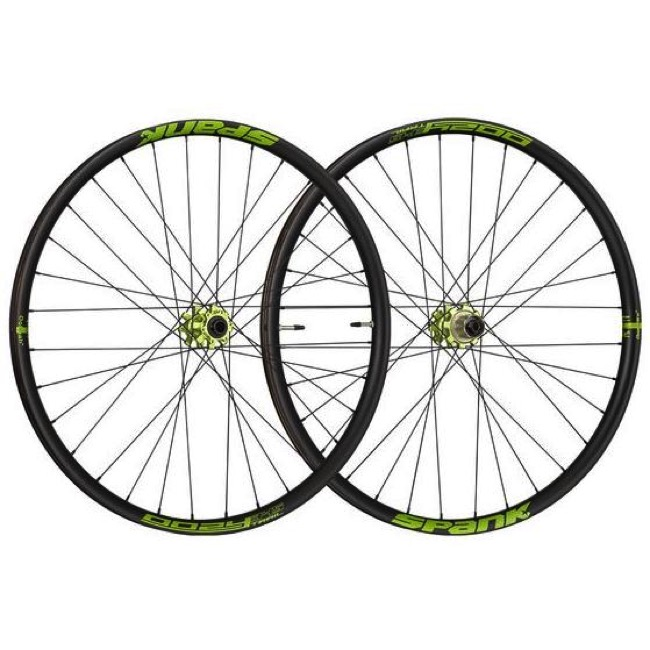 "Spank Oozy Trail 345 27.5"" Wheelset - Front 32h, 15x100mm TA / Rear 32h, 12x142mm TA, Shimano HG (Black/Green)"
