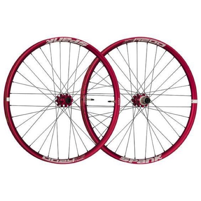 "Spank Oozy Trail 345 ""Boost"" 27.5"" Wheelset - Front 15x110 TA / Rear 12x148 TA, Shimano HG (Red)"