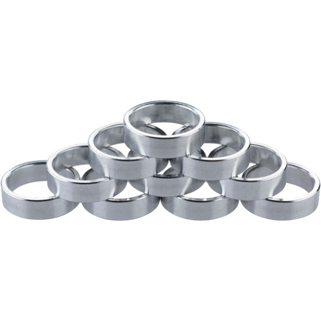 "Problem Solvers Alloy Headset Spacers - 1 1/8"" x 10mm, Bag of 10 (Silver)"