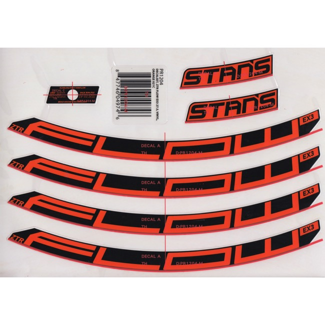 "Stans EX3 Decal Kits - 27.5"" Flow EX3 (Orange)"