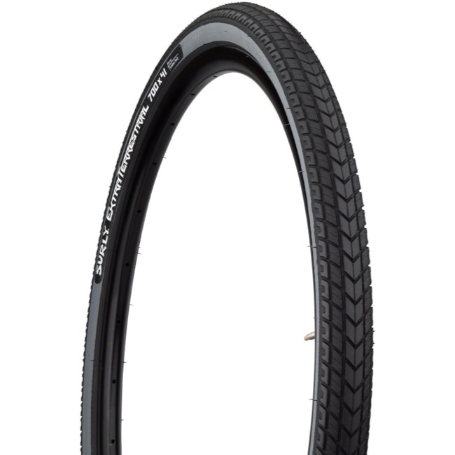 Surly ExtraTerrestrial Tubeless Ready 700c Tires - 700 x 41c, Folding Bead (Black Tread/Slate Sidewall)