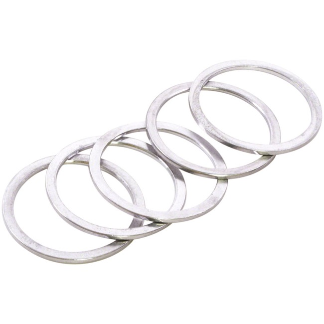 "Wheels Manufacturing Alloy Headset Spacers - 1 1/8"" x 1.5mm Bag of 5 (Silver)"