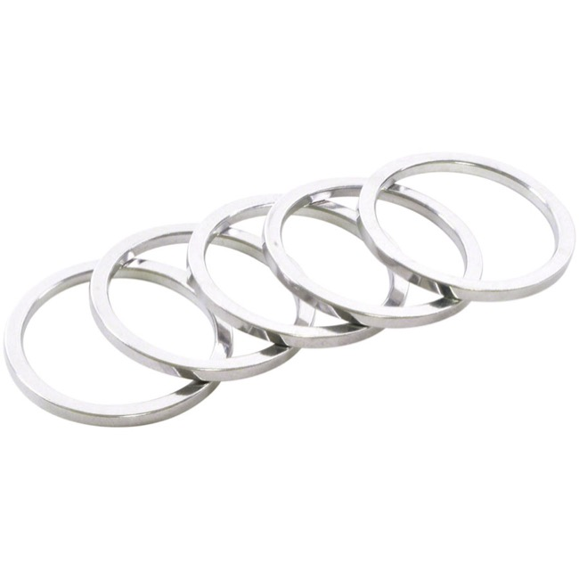 "Wheels Manufacturing Alloy Headset Spacers - 1 1/8"" x 2.5mm Bag of 5 (Silver)"