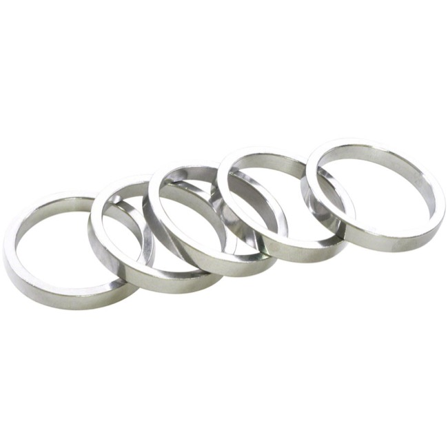 "Wheels Manufacturing Alloy Headset Spacers - 1 1/8"" x 5mm Bag of 5 (Silver)"