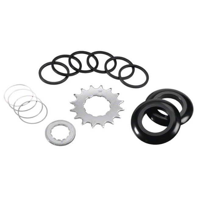Wheels Mfg. Single Speed Conversion Kit - 7 spacers and 16t x 3/32 cog and guide (Shimano)
