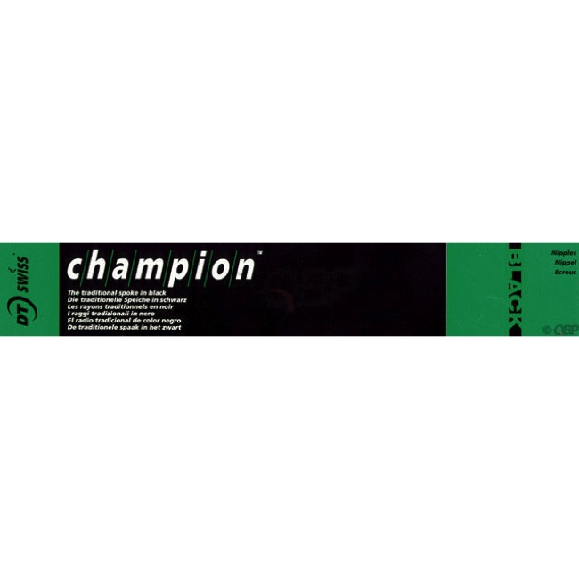 DT Swiss Champion 14 Gauge Black Spokes - 2.0 x 187 mm (Black)
