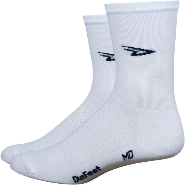 "DeFeet AirEator 5"" Series High Top White Top Socks - Large"