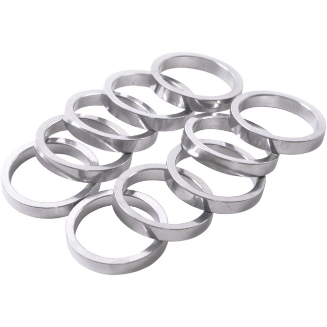 "Wheels Manufacturing Alloy 1"" Headset Spacers - 1"" x 5mm Bag of 10 (Silver)"