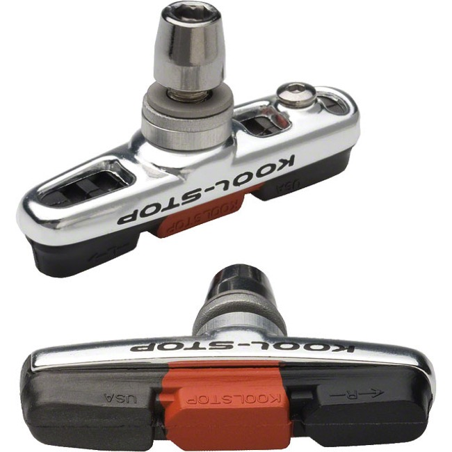 Kool Stop Cyclocross Linear Pads - Pair (Black/Salmon)