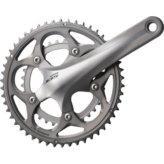 Shimano FC-5750 105 Double Crankset - 10 Speed - 165.0mm x 34/50t (Silver)