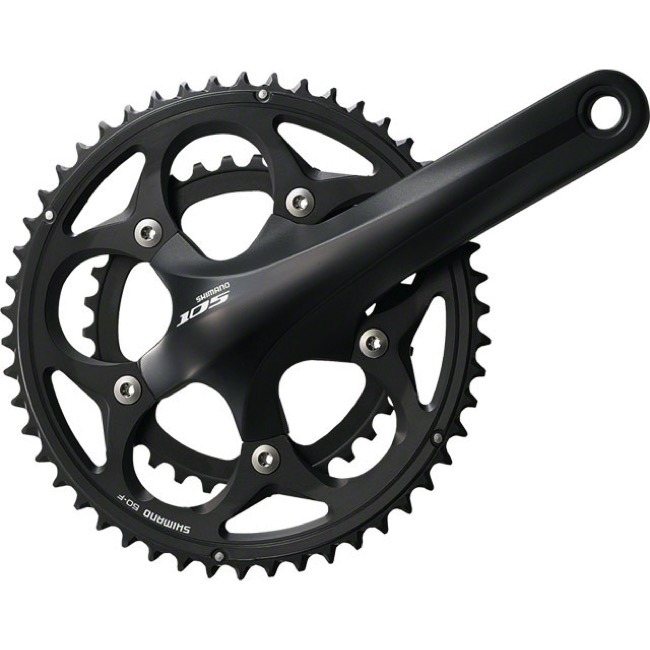 Shimano FC-5750 105 Double Crankset - 10 Speed - 172.5mm x 34/50t (Black)