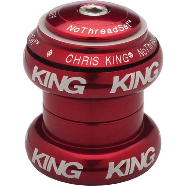 "Chris King Griplock No Threadset - Red 1 1/8"" (White Logo)"