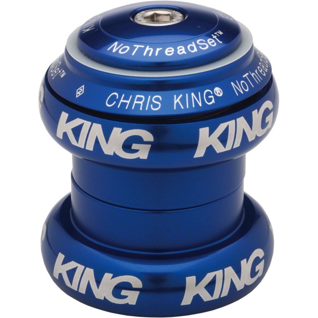 "Chris King Griplock No Threadset - Navy Blue 1 1/8"" (White Logo)"