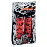 Cinelli Mike Giant Art Lock On Grips - Red/Black Clamps