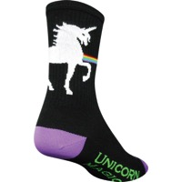 SockGuy Unicorn Express Crew Socks - Black - Large/X Large (Black)