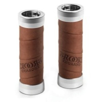 Brooks Leather Wrap Twist Shift Slender Grips - 100mm/100mm Length - Aged (Pair)