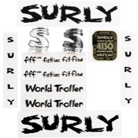 Surly World Troller Frame Decal Set with Headbadge - Black