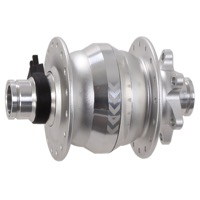 Shutter Precision PD-8X 15mm 6-Bolt Dynamo Hub - 100mm x 15mm Thru Axle x 32 Hole, 6-Bolt Disc (Silver)