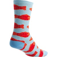 "SockGuy Go Fish Crew Socks - 6"" Crew Cuff - Small/Medium (Blue)"