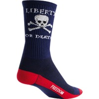"SockGuy Liberty or Death Crew Socks - 6"" Crew Cuff - Large/X Large (Blue)"