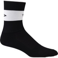 "DeFeet Aireator 5"" Team Socks - Black/White Stripe - Large (Black)"