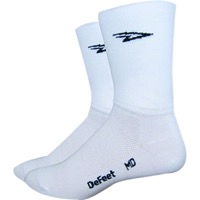 "DeFeet Aireator 5"" Double Cuff Socks - White - Medium (White)"