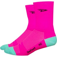 "DeFeet Aireator 5"" D-Logo Socks - Pink - Medium (Pink)"