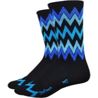 "DeFeet Aireator 6"" Speak Easy Socks - Black/Blue - Large (Black/Blue)"