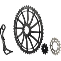 Wolf Tooth Components GC 49 Cog/WolfCage Bundles - 11 Speed Shimano - 49 Tooth + 18 Tooth Cog + WolfCage GS, Shimano 11 Speed (Black)