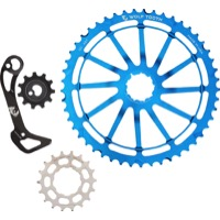 Wolf Tooth Components GC 49 Cog/WolfCage Bundles - 11 Speed Shimano - 49 Tooth + 18 Tooth Cog + WolfCage GS, Shimano 11 Speed, GS (Blue)