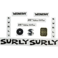 Surly Wednesday Frame Decal Set with Headbadge - Black