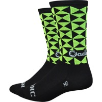 "DeFeet Aireator 6"" Cadence Socks - Black/Green - X Large (Black/Green)"