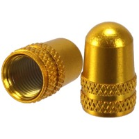 Alligator Alloy Schrader Valve Caps - Pair (Gold)