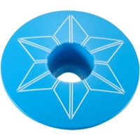 Supacaz Star Capz Headset Top Cap - 1 1/8 Inch (Neon Blue Powder Coated)