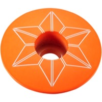 Supacaz Star Capz Headset Top Cap - 1 1/8 Inch (Neon Orange Powder Coated)